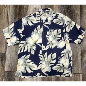 Tommy Bahama Hawaiian Shirt Blue Size Large
